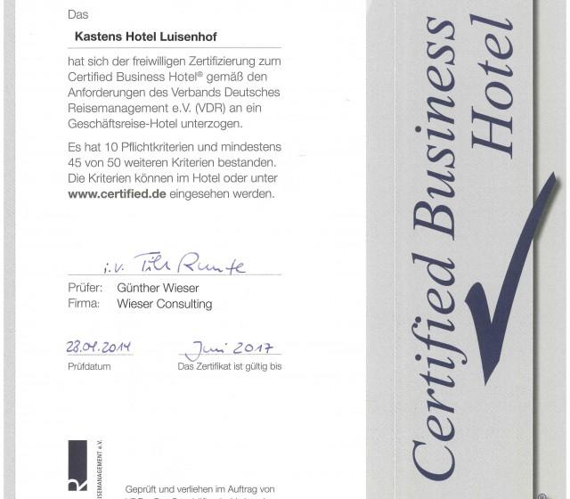 Certificate Business Hotel